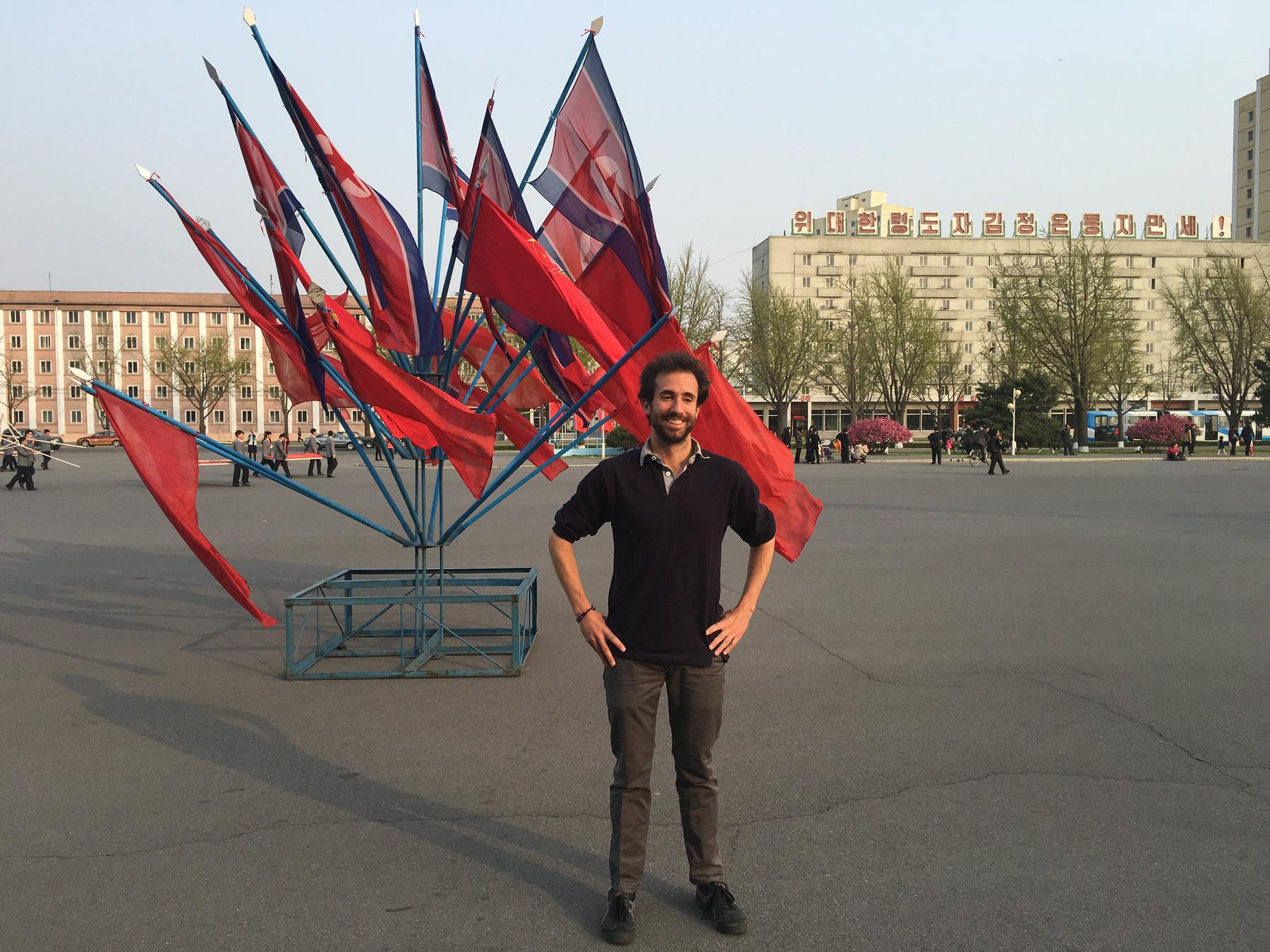 Me in the DPRK. These were the smallest flags I could find. Really. Okay, not really.