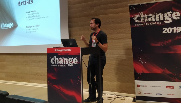 George Mandis presenting 'JavaScript for Artists' at ChangeCon 2019