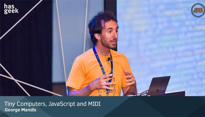 George Mandis presenting 'JavaScript for Artists' at GDG DevFest San Francisco 2018