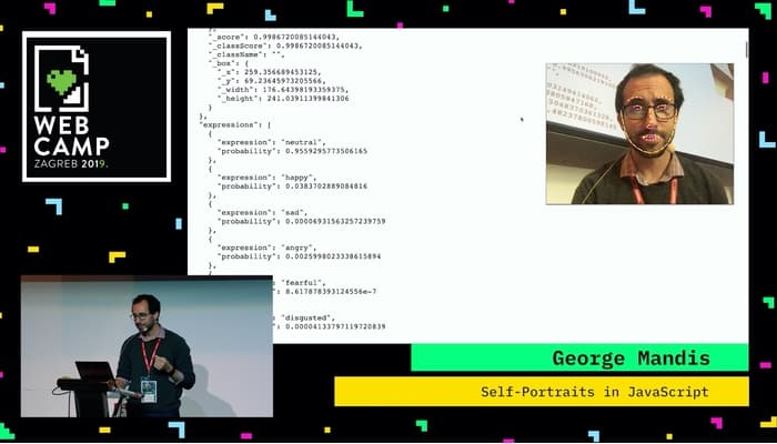 George Mandis presenting 'Self-Portraits in JavaScript' at Webcamp Zagreb 2019